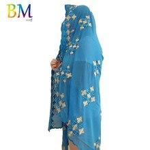 Последний высокое качество африканских женщин шифоновый шарф размер Musim вышивка 200*100см для шали обертывания BX418