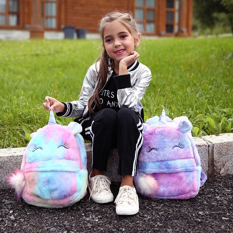 Plush School Bags For Girls Cute Cartoon Unicorn Children School Backpack For Kindergarten Toddler Backpacks Mochila Escolar
