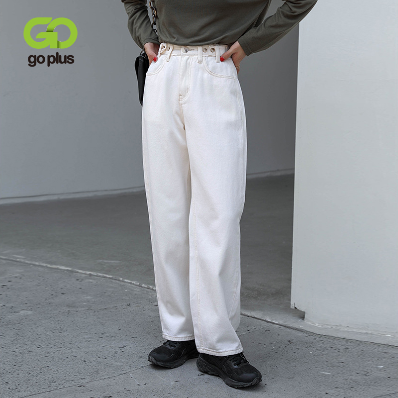 GOPLUS Jeans Woman Vintage Wide Leg Pants Baggy Mom White Jeans Women High Waist Denim Trousers Taille Haute Femme 2021 C10744