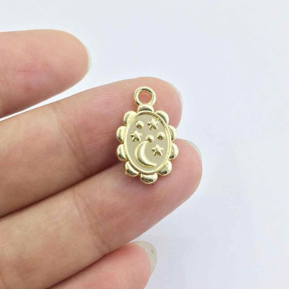 Eruifa 20 ชิ้น 15*11mm Monn และ Star เหรียญสร้อยคอ,ต่างหูสร้อยข้อมือเครื่องประดับ DIY ทำด้วยมือเก่าและโรเดียม