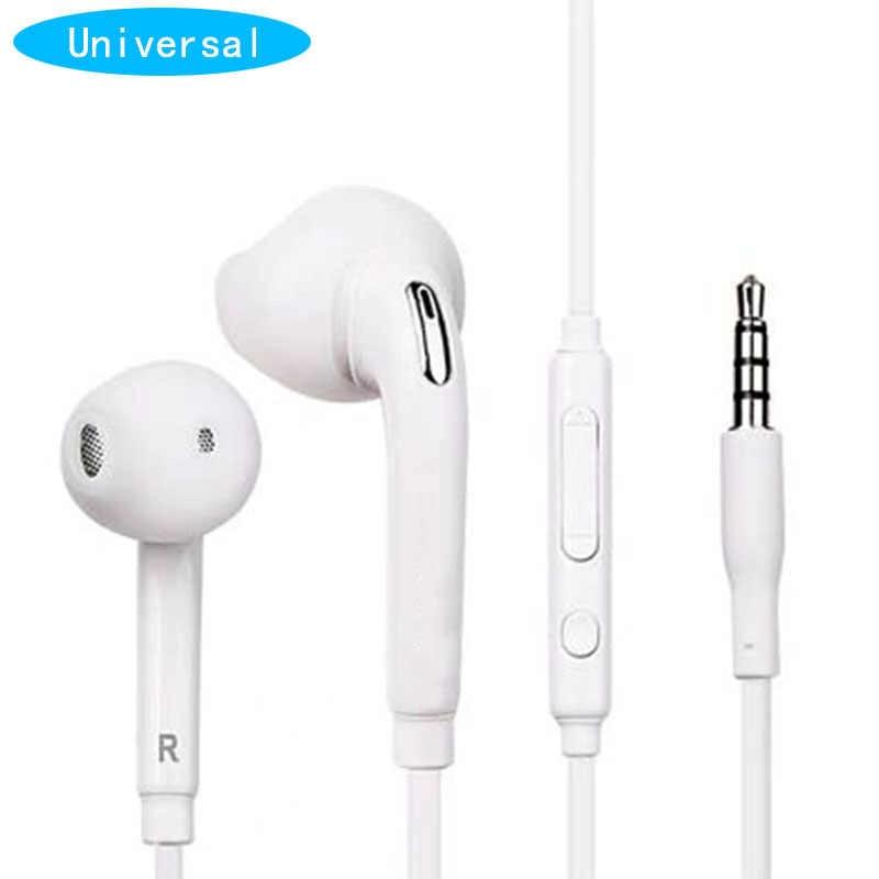 الأبيض السلكية سماعة في الأذن سماعة مع مايكروفون لسامسونج غالاكسي S6 3.5 مللي متر جاك سماعة للهاتف المحمول