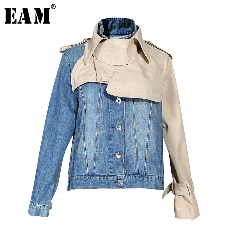 [EAM] Loose Fit Khaki Split Denim Big Size Jacket New Stand Collar Long Sleeve Women Coat Fashion Tide Spring Autumn 2020 1D4630
