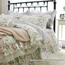 Bedding-Set Quilt-Cover Ruffle Print Floral Hot Lace Small Fresh Four-Piece Rustic Korean-Style