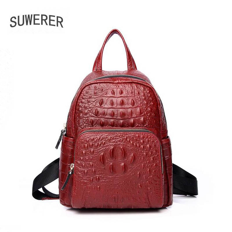 SUWERER New Women Genuine Leather Backpack fashion real cowhide leather backpack luxury Crocodile pattern women backpack