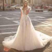 Liyuke Lace A line Wedding Dresses Sleeveless Appliques Deep V neck Backless Tulle With Glitter Fabric Bridal Gown Chapel Train