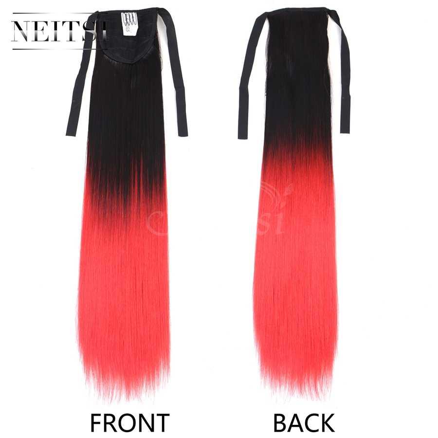 Neitsi 22 ''1 pc Rechte Cabelos Clip In Haarstukje Lint Paardenstaart T-Rode Kleur Hittebestendige Hair Extensions