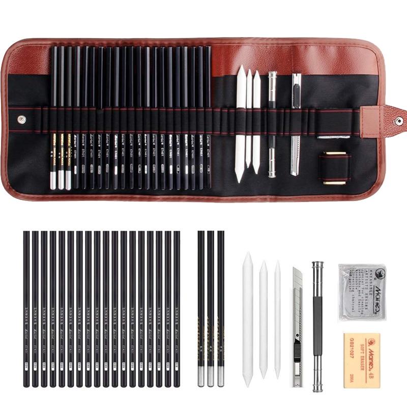 Набор карандашей для рисования TIPTOP 29 шт., набор для набросков с древесным углем, ластик для художественной живописи, комплект для рисования ...