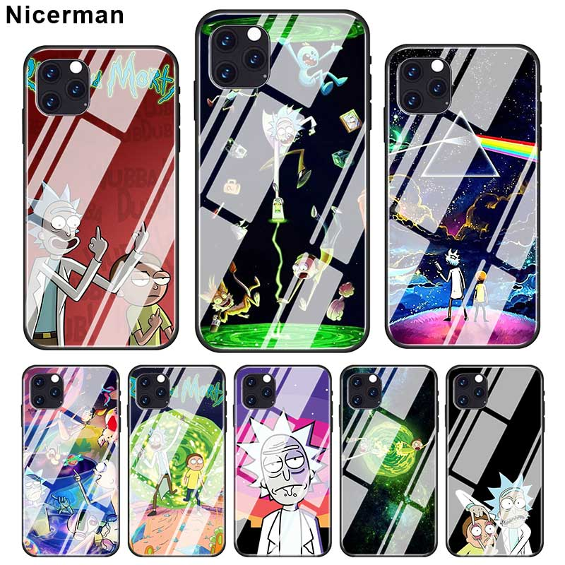 Rick and Morty Anime <font><b>Cases</b></font> For <font><b>iPhone</b></font> 11 Pro <font><b>X</b></font> <font><b>XS</b></font> XR Max 7 8 6 6S Plus <font><b>Tempered</b></font> <font><b>Glass</b></font> Cover Phone Coque Fundas Capa image