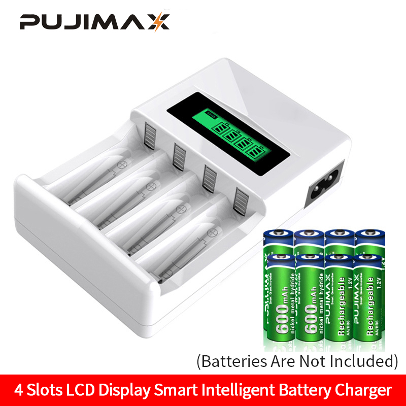 PUJIMAX LCD-004 LCD Display With 4 Slots Smart Intelligent Battery Charger For AA AAA NiCd NiMh Rechargeable Batteries