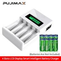 Pujimax carregador de baterias inteligente  tela lcd com 4 espaços  para pilhas recarregáveis aa/aaa  nicd nimh
