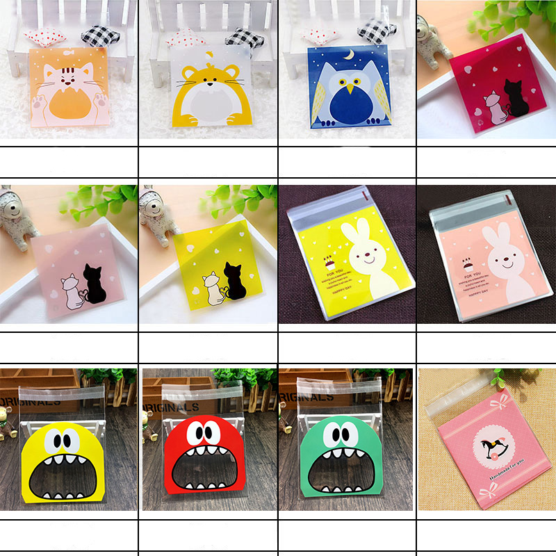 50/100Pcs 7*7cm Cute Cartoon Animal Big Teech Mouth Monster Plastic Gift Bag Wedding Birthday Cookie Candy Gift Packaging Bags