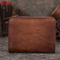 2020 new retro leather mini purse women's short wallet handmade soft leather female card holder wallets small coin purses women