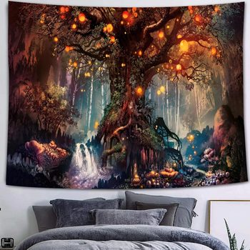 Simsant Mushroom Forest Castle Tapestry Fairytale Trippy Colorful Butterfly Wall Hanging Tapestry for Home Dorm Fantasy Decor 42