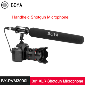 BOYA BY PVM3000 Shotgun Microphone 30° 50° 70° Supercardioid Electret Condenser Mic for Camcorder Audio Recorder DSLR Camera
