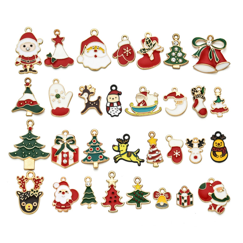 31pcs/lot Mixed Style Christmas Pendant Charms Colorful Enamel Santa Claus Elk Tree For DIY Jewelry Making Accessories