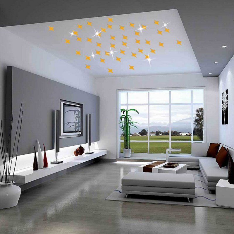 50pcs/lot Star Shaped Removable 3D Acrylic Wall Stickers Living Room Bed Room Ceiling Mirror Wall Sticker Home Decoration