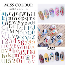 Newest R322 colorful letter design 3d nail sticker Japan Korea type DIY decal decoration tools for nail accessory