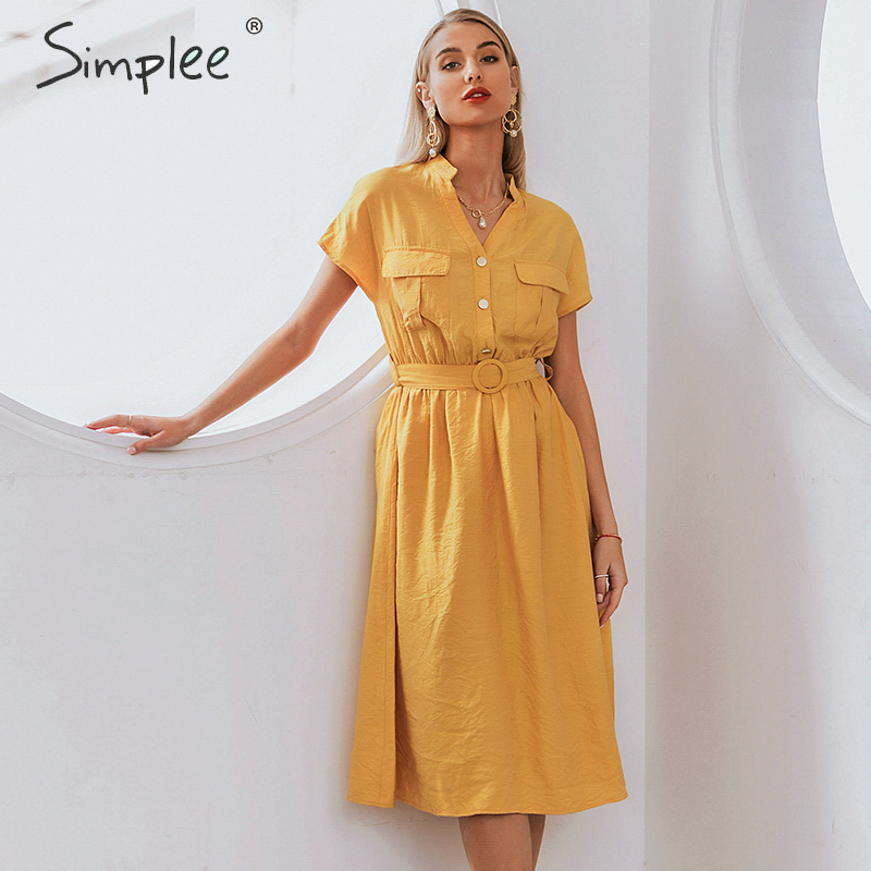 Simplee V-neck Solid Women Dress Vintage Elegant Button Belt Midi Summer Dress Casual Streetwear Office Ladies Pockets Dress