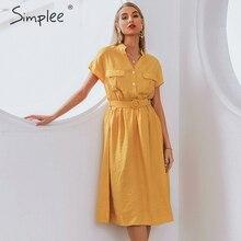 Simplee V neck solid women dress Vintage elegant button belt midi summer dress Casual streetwear office ladies pockets dress