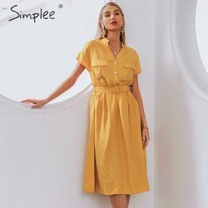 Image 1 - Simplee V neck solid women dress Vintage elegant button belt midi summer dress Casual streetwear office ladies pockets dress