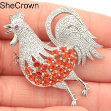 36x47mm New Arrival Rooster Orange Spessartine Garnet Tourmaline White CZ SheCrown Gift Silver Brooch