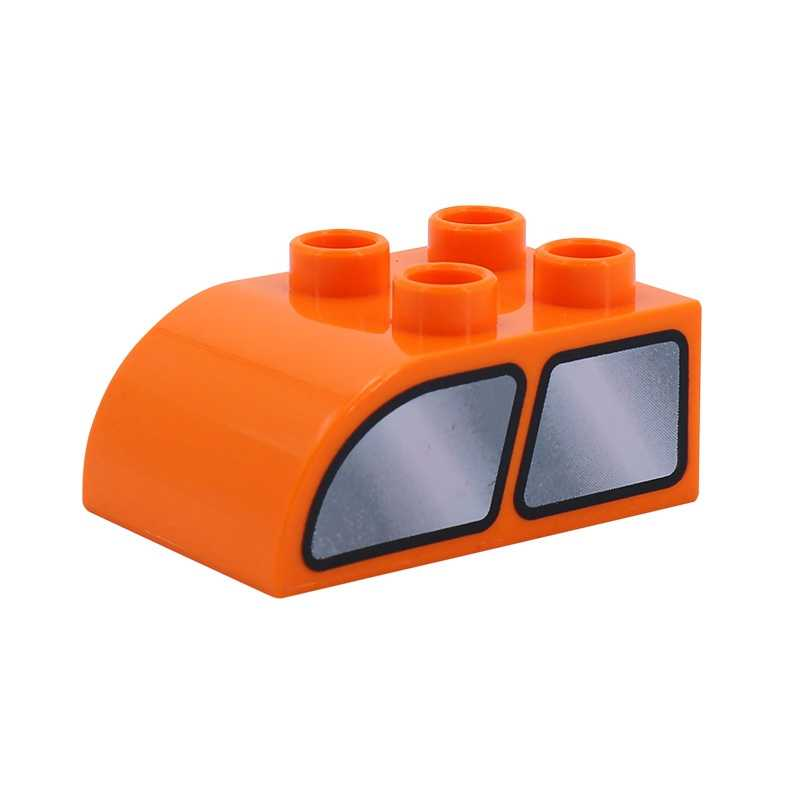 Legoing الانكليزي الهدايا اللعب نموذج Diy الطفل اللبنات 4 حفرة منحني الطوب سيارة نافذة لعب الاطفال مجموعات كبيرة حجم Legoings Duploed