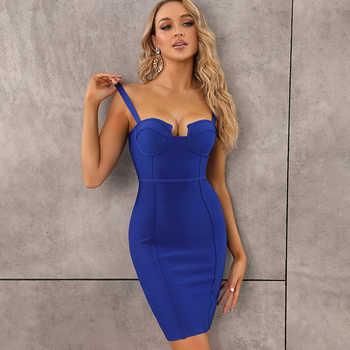 9 colori Delle Signore Sexy Blu Giallo Nero Rayon Delle Donne di Estate del Vestito Dalla Fasciatura 2020 Del Progettista della Celebrità Del Partito di Modo Del Vestito Vestido