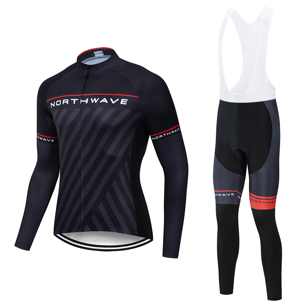 <font><b>Northwave</b></font> <font><b>NW</b></font> <font><b>2019</b></font> Spring autumn Cycling Jersey Long Sleeve Cycling Set Bike Clothing Ropa Ciclismo Cycling Clothing 19D Gel Pad image