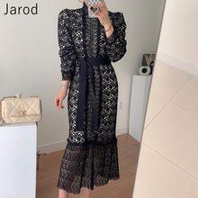 Robe sirène en dentelle élégante pour femmes, nouvelle collection coréenne 2021, avec crochet fleuri, manches longues, taille haute, Slim