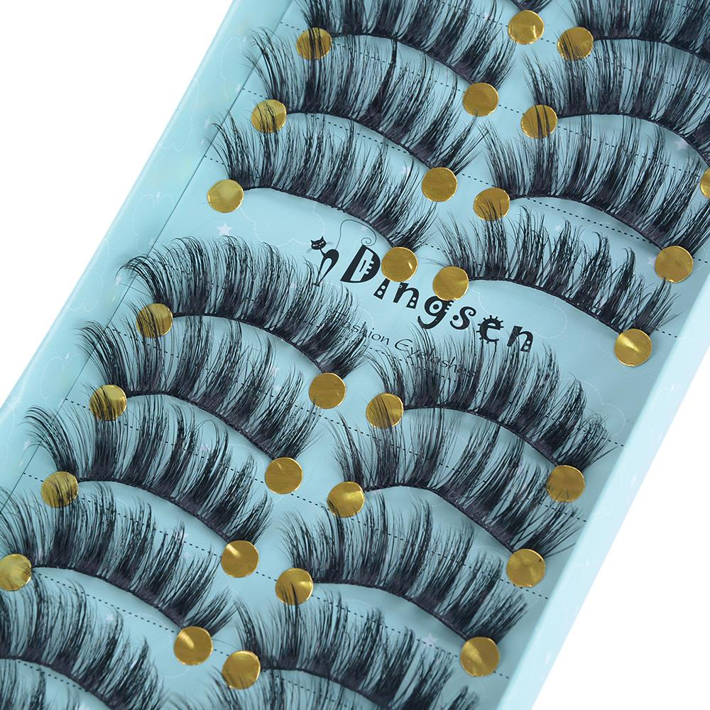 10 Pairs Natural False Eyelashes Long Lasting Extension 3D Thick Mink Fake Eyelashes Eyes Makeup Beauty Tools Dropshipping