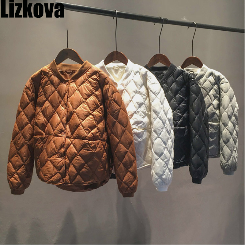 Winter Quilted Bomber Jacket Woman Stand Collar Diamond-type Lattice Crop Baseball Down Jacket Outwear