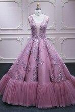 ורוד נסיכת ארוך פורמליות שמלות נשף תחרת אפליקציות טול V צוואר אלגנטי שמלת ערב Robe דה Soiree מסיבת אירוסין שמלות