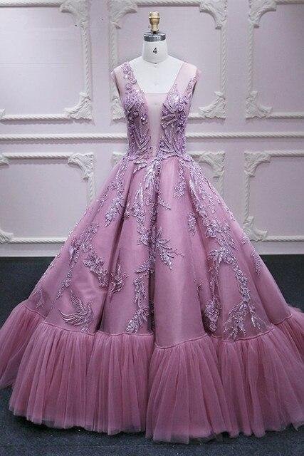 Vestidos de Fiesta formales largos de princesa rosa con Apliques de encaje de tul con cuello en V vestido de noche elegante vestido de fiesta de compromiso