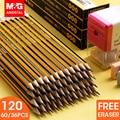 Набор желтых карандашей HB M & G 36/60/120 шт., стандартные карандаши с ластиком, шестигранный деревянный свинцовый карандаш, Графитовые Карандаши ...