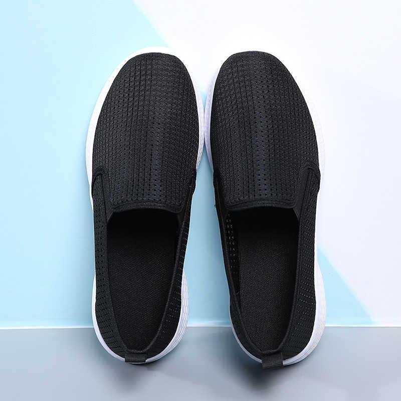2020 Phụ Nữ Mùa Hè Cho Nữ Lưới Thoáng Khí Phẳng Giày Slip On Nhẹ Mẹ Giày Điều Dưỡng Giày Đế Mềm Nữ 2362