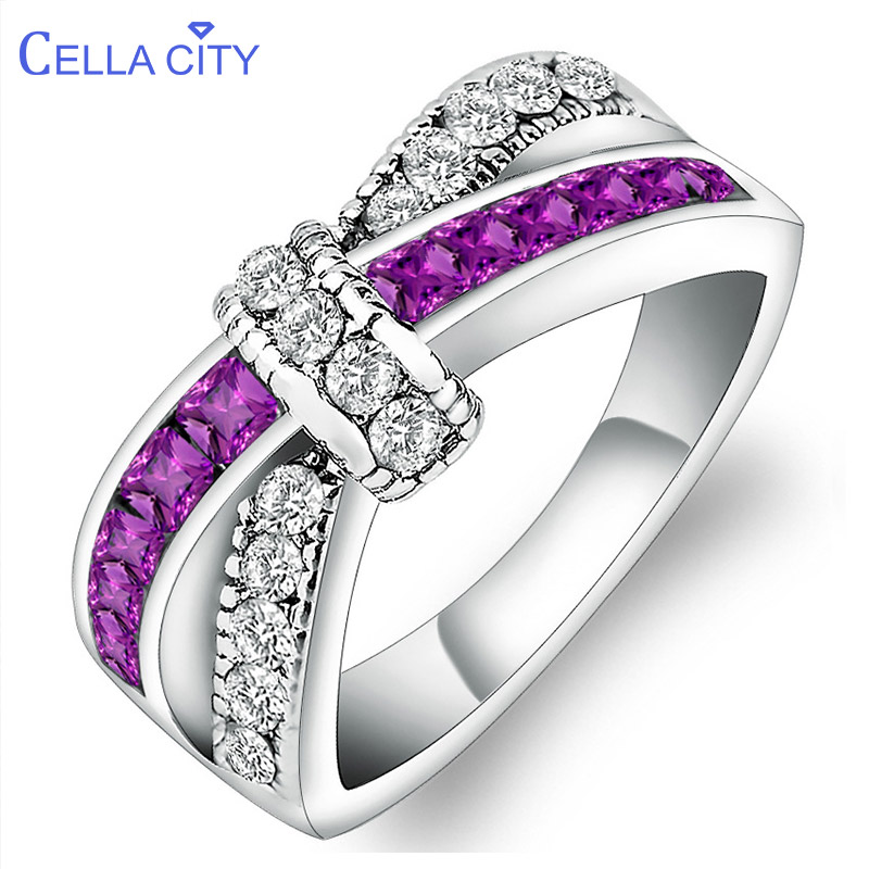 Cellacity Trendy Amethyst Ring For Women Cross Shape Gemstones Silver 925 Jewelry Bow Female Accessory Wedding Gift Wholesale