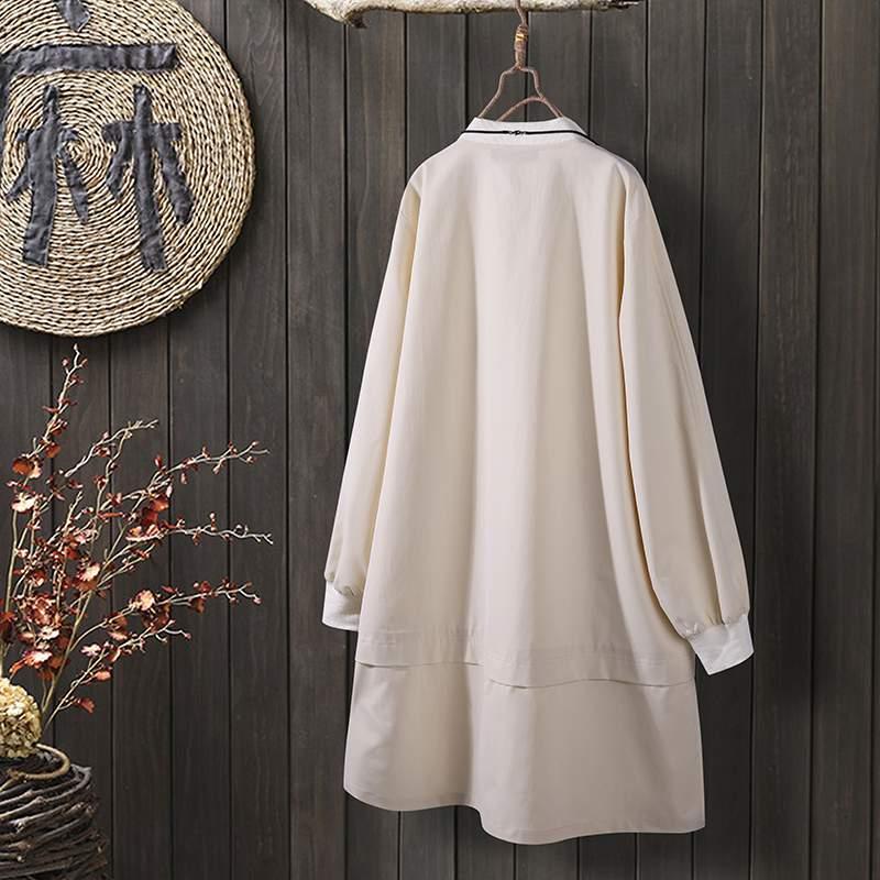 2020 Vintage Women Plain Zipper Up Long Trench ZANZEA Elegant Solid Long Sleeve Manteau Femme O Neck Thicken Outwear Plus Size