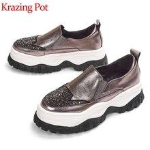 Krazingポット牛革プラットフォームスニーカーハイキング厚底星空ダイヤモンドレジャー混合色加硫靴L32