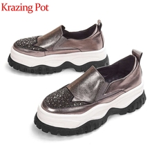 Krazing pot cow leather platform sneakers round toe hiking thick bottom starry diamond leisure mixed color vulcanized shoes L32