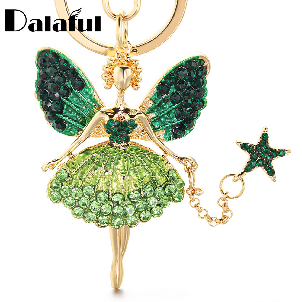 Angel Girl Keychain Rhinestone Crystal Key Chain Key Ring Holder Bag Pendant Accessories Cute Women Enamel Keyring For Car K403
