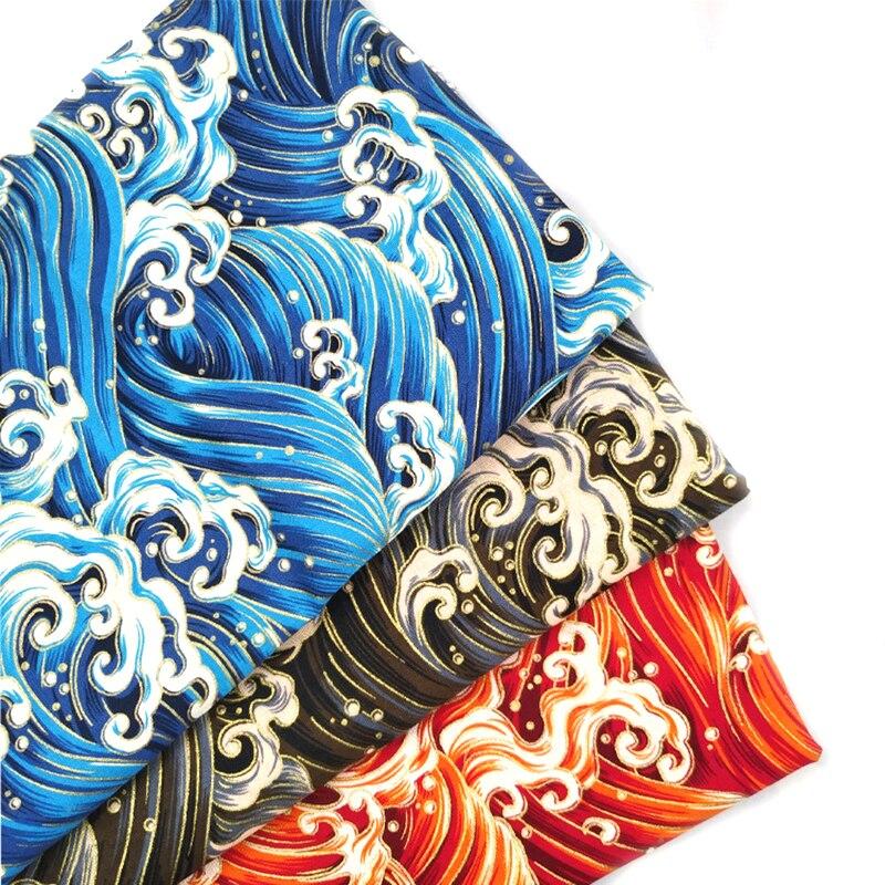 Черный красный хлопок вишневый цвет Бронзирующая ткань, бабочка кран Precut швейная ткань Лоскутная стеганая DIY японская ткань 3