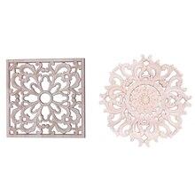 2x Резные Цветочные наклейки из резины, дерева, поделки, аппликация, мебель, сделай сам, декор F: 20x20 см и 15 см Тип A