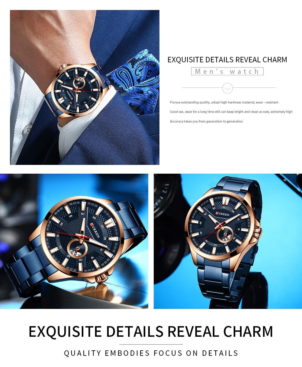 H53107d4a6a704c69832e74c77f98ae0e7 New Stainless Steel Quartz Men's Watches Fashion CURREN Wrist Watch Causal Business Watch Top Luxury Brand Men Watch Male Clock