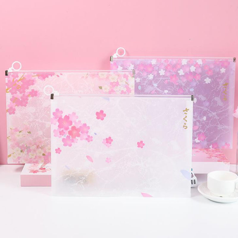 1 Pcs Cute PP Cherry Blossoms Sakura A4 Transparent Waterproof Document Bags File Folder Plastic School Office Gift Stationery