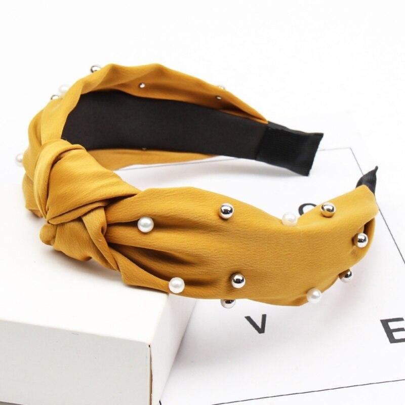 Couleur unie noeud bandeaux pour femmes Simple tissu filles bandeau femmes cheveux accessoires large côté bandeau 8