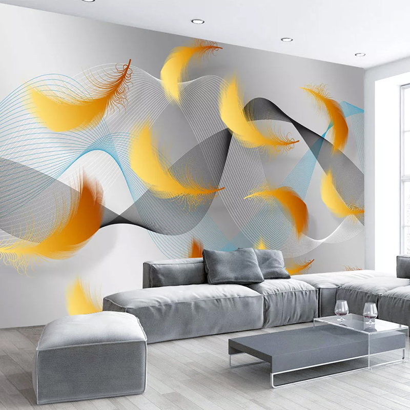 Custom Photo Mural Wallpaper Nordic Modern Abstract Line Feathers Living Room Bedroom Background Wallpapers Papel De Parede 3D