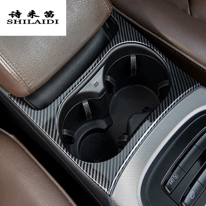 Car Styling Carbon Fiber For Audi Q5 Central Control Gear Shift Buttons Panel Water Cup Cover Sticker Interior Auto Accessories