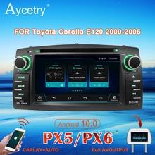 PX6รถวิทยุ2 Din Androidมัลติมีเดีย10เครื่องเล่นDVD Autoradio AudioสำหรับToyota Corolla E120 BYD F3สเตอริโอนำทางGPS DSP 4G