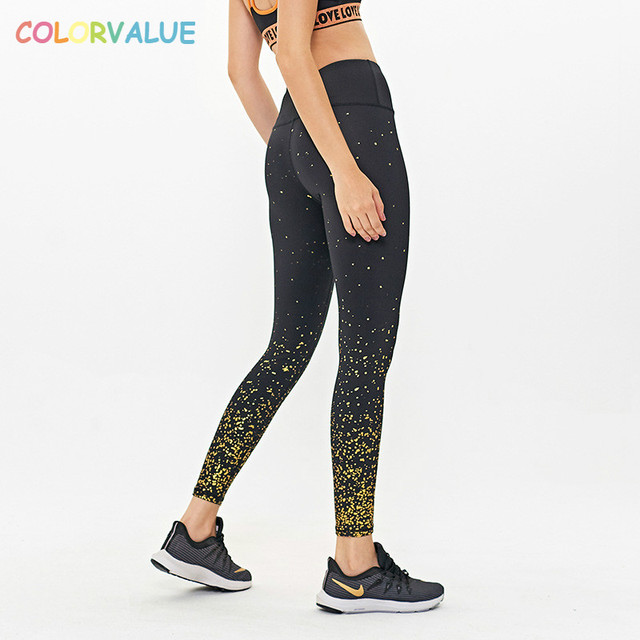 $ US $20.31 Colorvalue Squatproof Star Prints Gym Athletic Leggings Yoga Pants Women Stretchy High Waist Workout Fitness Sport Tights S-XL