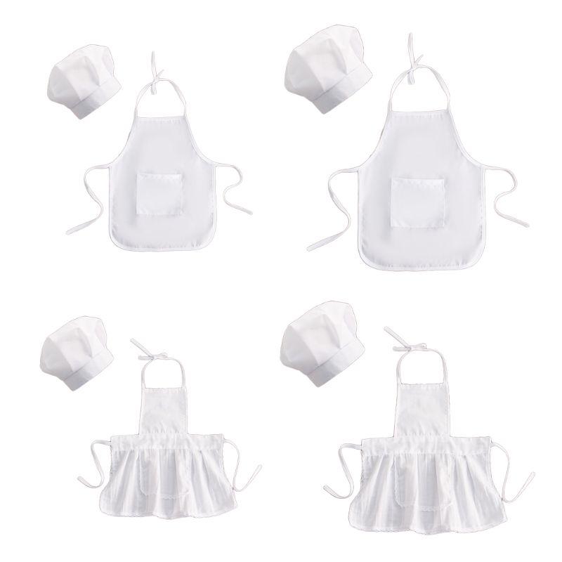 2 adet sevimli bebek şef önlük ve şapka bebek çocuk beyaz aşçı kostüm fotoğrafçılık Prop yenidoğan şapka önlük